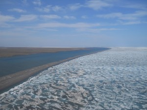 Beaufort Lagoons bounded by ice, 2 July 2012 (Ken Dunton)
